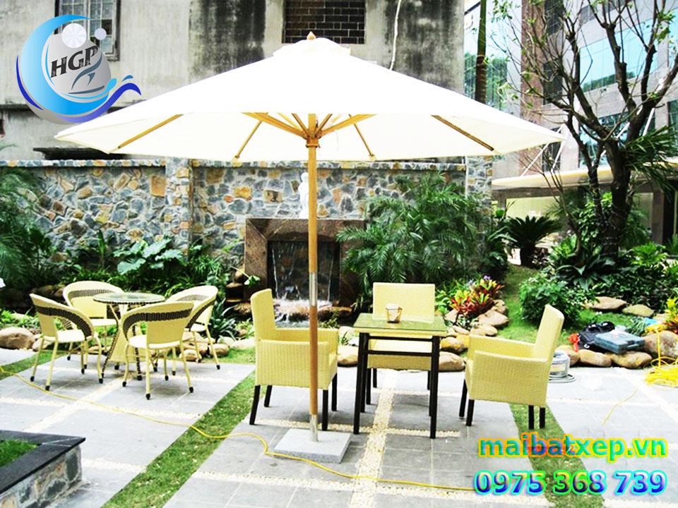 Dù Gỗ Che Nắng Đứng Tâm Tròn 1 Tầng, Dù Che Quán Cafe Ngoài Trời