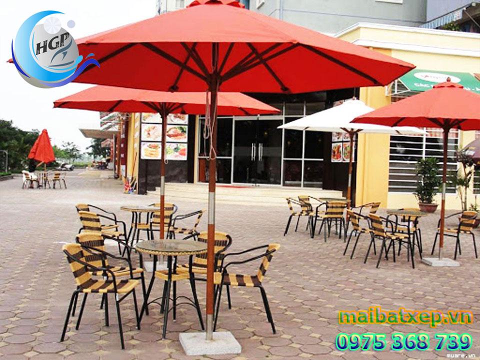 Dù Che Nắng Đứng Tâm Tròn 1 Tầng Che Quán Cafe