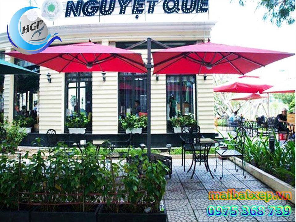 Dù Che Nắng Lệch Tâm Đôi Vuông Che Nắng Quán Cafe