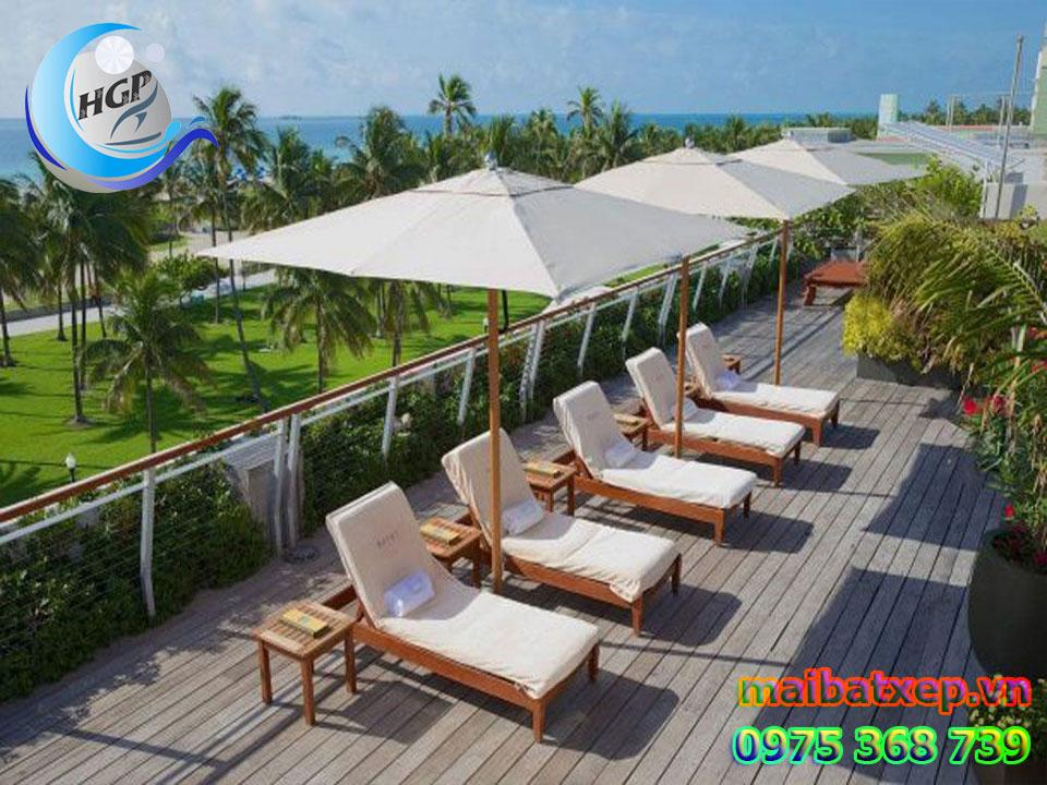 Dù Che Nắng Đứng Tâm Vuông 1 Tầng, Dù Che Resort