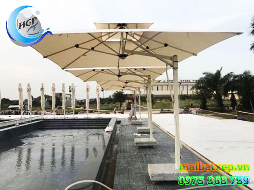Dù Che Nắng Lệch Tâm Vuông 2 Tầng Che Hồ Bơi